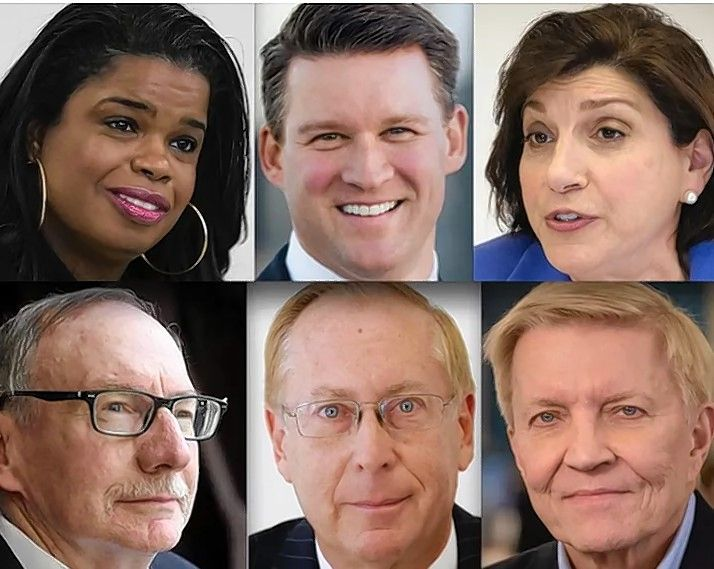 Top row, from left: Democrats Kim Foxx, Bill Conway and Donna More. Bottom row, from left: Republicans Pat O'Brien and Christopher Pfannkuche and Democrat Bob Fioretti.