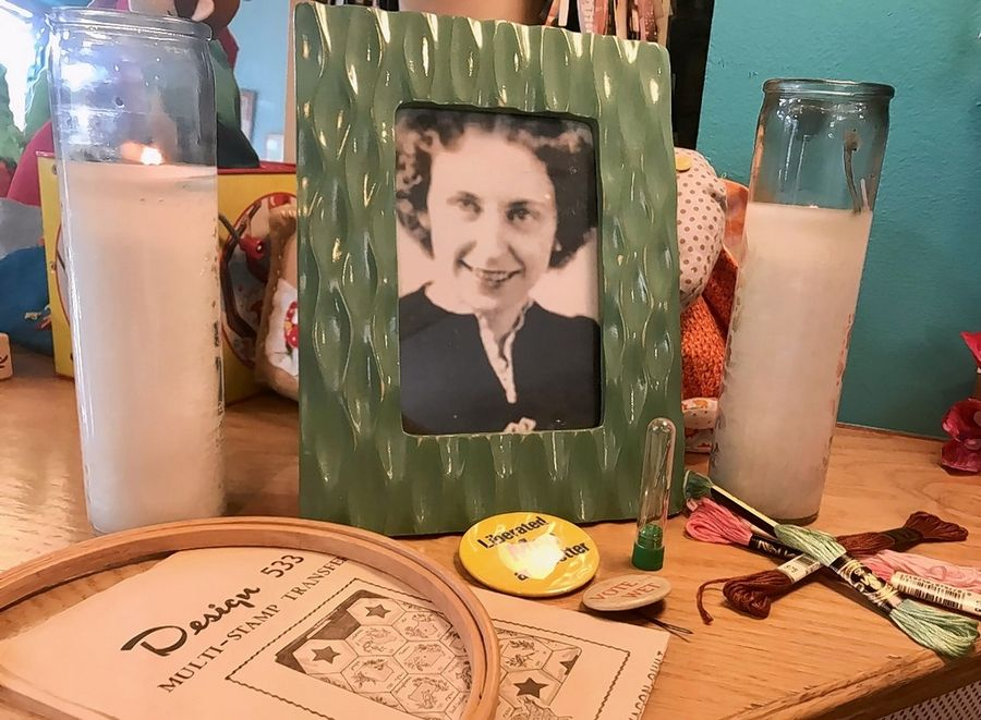 This shrine honors Rita Smith, the Mount Prospect resident who died at age 99 and left behind an unfinished quilt project. Crafter Shannon Downey brings together a community of volunteers to finish the project.