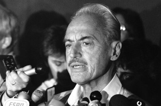 FILE - This July 16, 1981 file photo shows baseball union leader Marvin Miller speaking to reporters after rejecting a proposal to end a baseball strike, in New York. Miller, the union leader who revolutionized baseball by empowering players to negotiate multimillion-dollar contracts and to play for teams of their own choosing, was elected to baseball's Hall of Fame on Sunday, Dec. 8, 2019.