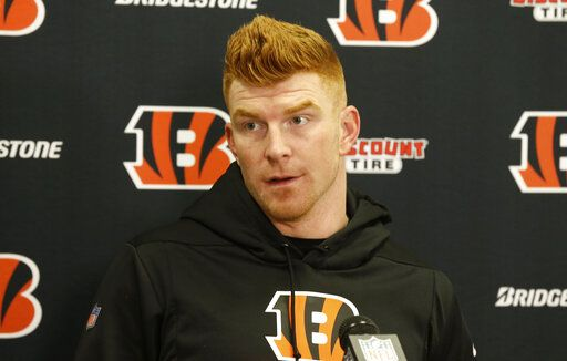 Cincinnati Bengals quarterback Andy Dalton speaks at a news conference after an NFL football game against the Cleveland Browns, Sunday, Dec. 8, 2019, in Cleveland. The Browns won 27-19.