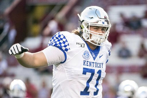 FILE - In this Sept. 28, 2019, file photo, Kentucky guard Logan Stenberg (71) warms-up before an NCAA college football game against South Carolina, in Columbia, S.C. Stenberg was selected to The Associated Press All-Southeastern Conference football team, Monday, Dec. 9, 2019.