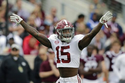 FILE - In this Oct. 12, 2019, file photo, Alabama defensive back Xavier McKinney (15) calls a play during the second half of an NCAA college football game against Texas A&M, in College Station, Texas. McKinney was selected to The Associated Press All-Southeastern Conference football team, Monday, Dec. 9, 2019.
