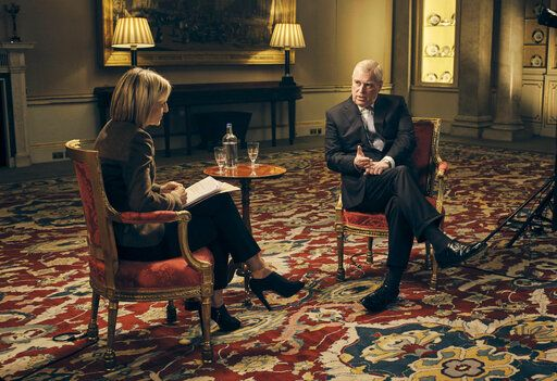 This Nov. 18, 2019 photo released by the BBC shows BBC Newsnight's Emily Maitlis, left, during an interview in London with Prince Andrew, Duke of York, about the Prince's involvement with Jeffrey Epstein. His interview backfired when the prince failed to show empathy for the young women who were exploited by Epstein even as he defended his friendship with the convicted sex offender. (Mark Harrison/BBC via AP)