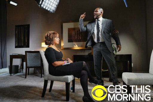 "In this March 5, 2019 photo provided by CBS, R&B singer R. Kelly gestures while making a point during an interview with Gayle King on ""CBS This Morning"" broadcast. The R&B singer gave an interview after being charged with sexually abusing four females dating back to 1998, including three underage girls. Kelly has pleaded not guilty to 10 counts of aggravated sexual abuse. (Lazarus Jean-Baptiste/CBS via AP)"
