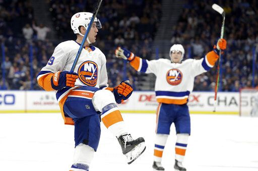 New York Islanders center Brock Nelson (29) celebrates his goal against the Tampa Bay Lightning during the third period of an NHL hockey game Monday, Dec. 9, 2019, in Tampa, Fla.