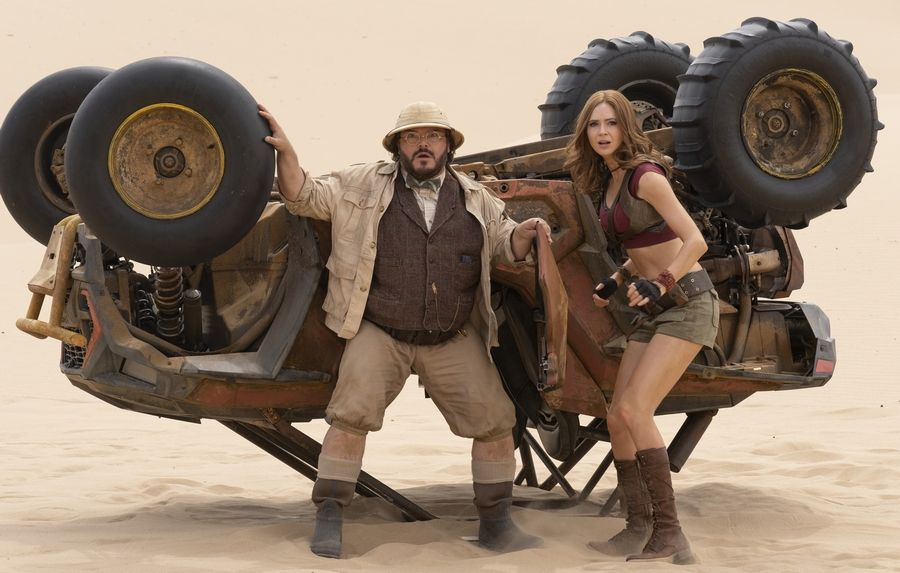 "Professor Shelly Oberon (Jack Black) and Ruby Roundhouse (Karen Gillan) do a bit of body-switching in the spectacular fantasy adventure ""Jumanji: The Next Level."""