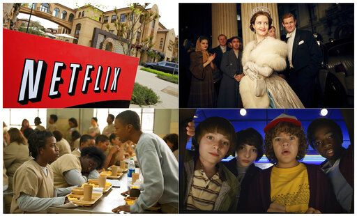 "This combination photo shows, clockwise from top left, Netflix headquarters in Los Gatos, Calif., Claire Foy and Matt Smith in a scene from ""The Crown,"" Noah Schnapp, Finn Wolfhard, Gaten Matarazzo and Caleb Mclaughlin in a scene from ""Stranger Things,"" and Uzo Aduba, left, and Samira Wiley appear in a scene from ""Orange is the New Black.""  It took less than a decade for leader Netflix to skyrocket from about 12 million U.S. subscribers at the decade's start to 60 million this year and 158 million worldwide."