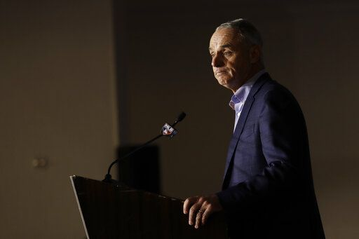 Commissioner Rob Manfred speaks during the Major League Baseball winter meetings Wednesday, Dec. 11, 2019, in San Diego.