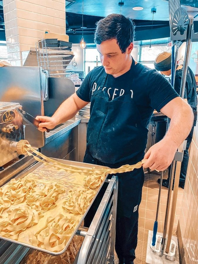 Downtown Arlington Heights Passero's menu features Italian-American cuisine and handmade pizzas.