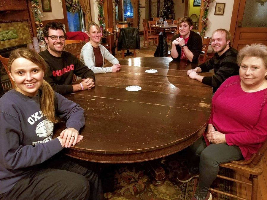 "The cast of ""The Long Christmas Dinner"" includes Crystal Skipworth, left, Michael Wagman, Ann Marie Nordby, Matt Hellyer, Richard Isemonger and Jan Jacobs. Not pictured is Trace Gamache."