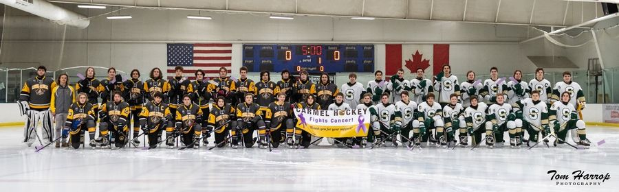 Carmel Catholic High School and Stevenson High School Varsity hockey teams face-off for Hockey Fights Cancer fundraiser at Glacier Ice Arena in Vernon Hills.Tom Harrop Photography