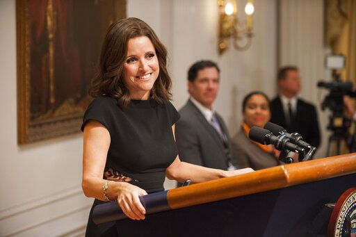 "This image released by HBO shows Julia Louis-Dreyfus in ""Veep."" HBO turned to politics in 2012 with 'œSeinfeld'� alumnus Julia Louis-Dreyfus playing vulgar vice president Selina Meyer on 'œVeep.'� She was a narcissist and bungled one thing after another, from data leaks to campaigning. Somehow, we always ended up rooting for her.  (Colleen Hayes/HBO via AP)"