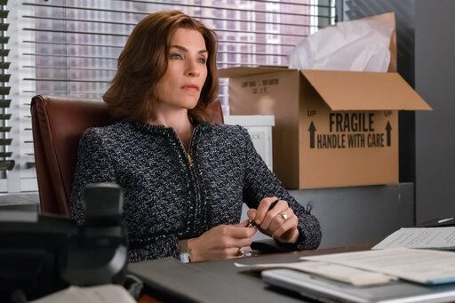 "In this image released by CBS, Julianna Margulies appears in a scene from, ""The Good Wife."" 'œThe Good Wife'� started in 2009 with a slap. In a hallway away from cameras, Julianna Margulies' Alicia Florrick smacked her philandering politician husband. For the next several seasons we watched her pull out from the shadow of her husband and forge a new identity. (Jeff Neumann/CBS via AP)"