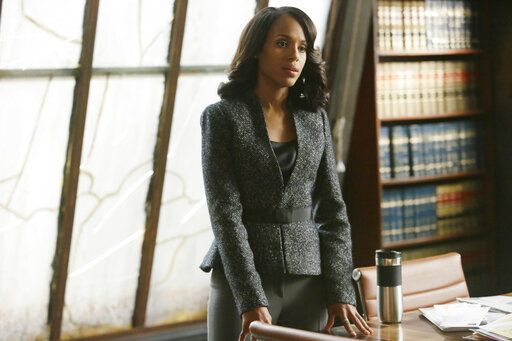 "HOThis photo provided by ABC shows, Kerry Washington as Olivia Pope, in the season finale of ""Scandal,"" on the ABC Television Network.  Over seven seasons, the juicy drama 'œScandal'� shifted from a scandal-of-the-week format to a dark examination at the widespread corruption that underlies the government. Pope was a rare female antihero in a Tom Ford power suit. She fixed a presidential election, she bludgeoned a paraplegic to death with a metal chair and blew up a plane full of innocent people in order to kill the president of a fictional Middle Eastern country. (Nicole Wilder/ABC via AP)"
