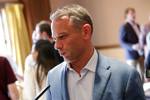 Chicago Cubs general manager Jed Hoyer speaks during a media availability during the Major League Baseball general managers annual meetings Tuesday, Nov. 12, 2019, in Scottsdale, Ariz.