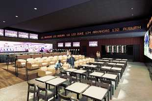 An artist's rendering shows the refurbished 4,840-square-foot bar space within Rivers Casino in Des Plaines that reopened Friday. For now, it's a sports bar, but plans are to make it a sportsbook, pending state approval.