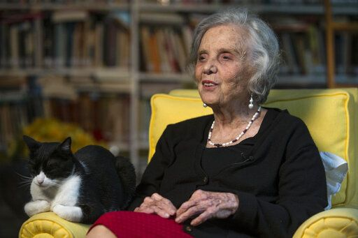 FILE - In this Sept. 24, 2015 file photo, Mexican writer Elena Poniatowska speaks during a interview at her home in Mexico City. Poniatowska is standing by her claim that she was sexually abused in 1954 by an older colleague, now deceased novelist Juan Jose Arreola.