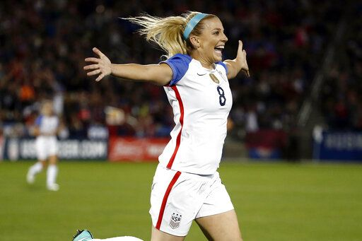 FILE - In this Sept. 15, 2017, file photo, United States defender Julie Ertz (8) celebrates after scoring a goal against New Zealand during the first half of an international friendly soccer match in Commerce City, Colo. Ertz has been named the U.S. Soccer women's Player of the Year on Friday, Dec. 13, 2019, for the second time. Ertz also won the award in 2017 and she won the federation's Young Player of the Year honors in 2012.