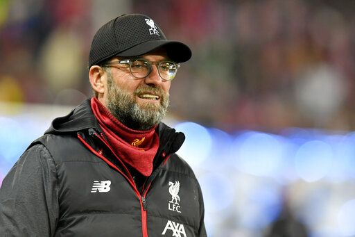 Liverpool's manager Jurgen Klopp smiles prior to the group E Champions League soccer match between Salzburg and Liverpool, in Salzburg, Austria, Tuesday, Dec. 10, 2019.