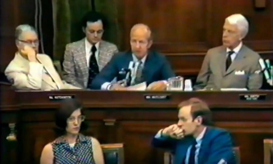 U.S. Rep. Robert McClory, center, speaks about his vote on two articles of impeachment against President Richard Nixon in 1974. McClory, of Lake Bluff, was second-ranking Republican on the House Judiciary Committee during the Watergate scandal.