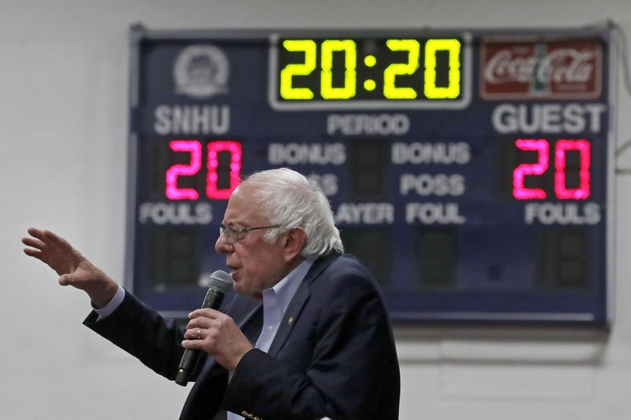 Democratic presidential candidate Bernie Sanders speaks at a campaign event Friday in Manchester, N.H. Despite social media reports, the Vermont senator has not dropped out.