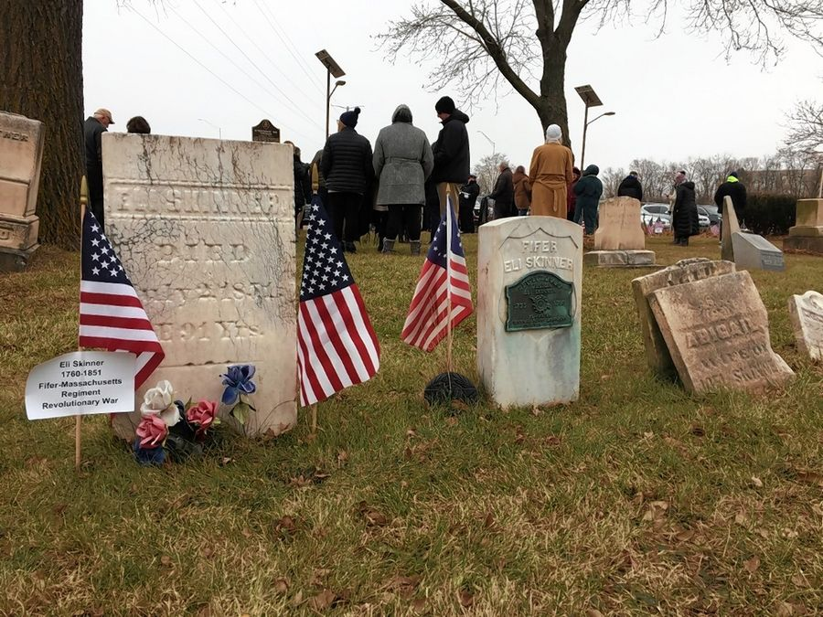 Revolutionary War veteran Eli Skinner was one of 25 late military service members honored with a wreath Saturday as the Daughters of the American Revolution conducted a ceremony at Elk Grove Cemetery as part of the Wreaths Across America program.