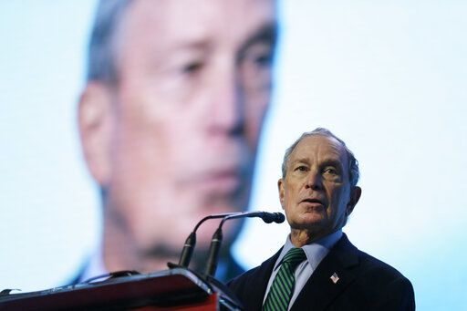 Democratic Presidential candidate Michael Bloomberg speaks before taking part in an on-stage conversation with former California Gov. Jerry Brown at the American Geophysical Union fall meeting Wednesday, Dec. 11, 2019, in San Francisco. Bloomberg made his first visit to California as a Democratic presidential candidate, appearing earlier with the mayor of Stockton who's championed universal basic income. Bloomberg and Brown talked about America's Pledge, bringing together leaders to ensure the U.S. remains a global leader in reducing emissions and delivering the goals of the Paris Agreement.