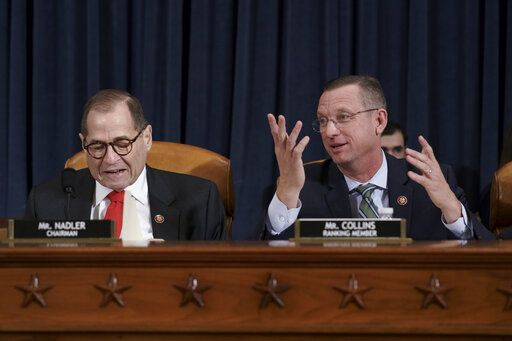 House Judiciary Committee Chairman Jerrold Nadler, D-N.Y., left, joined by Rep. Doug Collins, R-Ga., the ranking member, convenes the panel to consider the investigative findings in the impeachment inquiry against President Donald Trump, on Capitol Hill in Washington, Monday, Dec. 9, 2019.