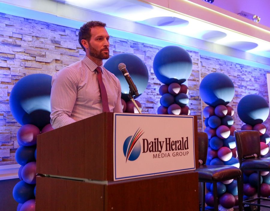 Push Fitness owner Josh Steckler, speaking here at the  2019 Daily Herald Fittest Loser finale, will again head the training efforts for the 2020 challenge.