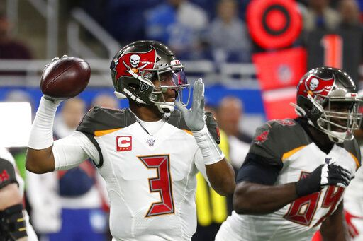 Tampa Bay Buccaneers quarterback Jameis Winston throws during the first half of an NFL football game against the Detroit Lions, Sunday, Dec. 15, 2019, in Detroit.