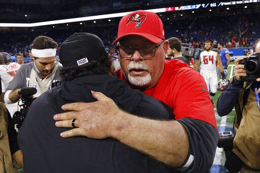 Detroit Lions head coach Matt Patricia, foreground, is hugged by Tampa Bay Buccaneers head coach Bruce Arians after an NFL football game, Sunday, Dec. 15, 2019, in Detroit.