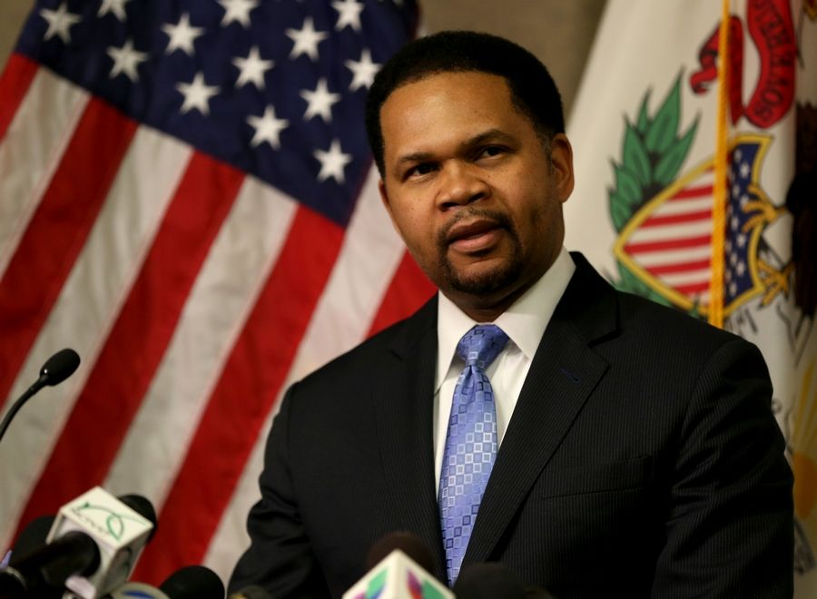 Aurora Mayor Richard Irvin speaks at a news conference in February.