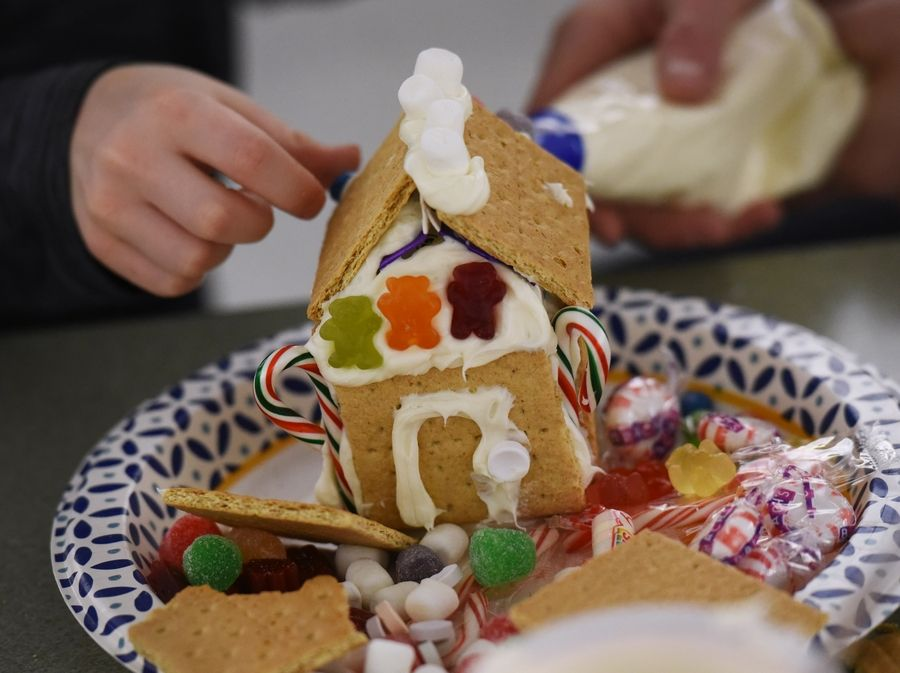 Butterfield School first-grade students had a gingerbread house decorating event Wednesday at the Libertyville school.