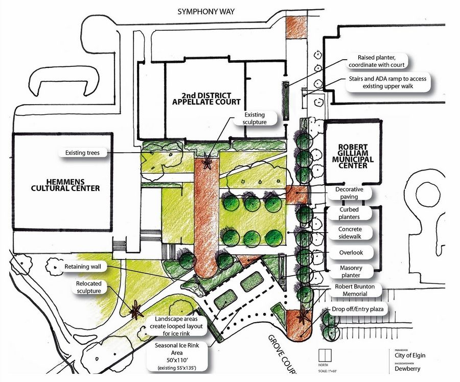 COURTESY OF CITY OF ELGINThe Elgin City Council gave the OK on Wednesday to an estimated $2.1 million renovation of Civic Center Plaza that will allow the ice rink to be set up there again in winter 2020, as outlined in this rendering.