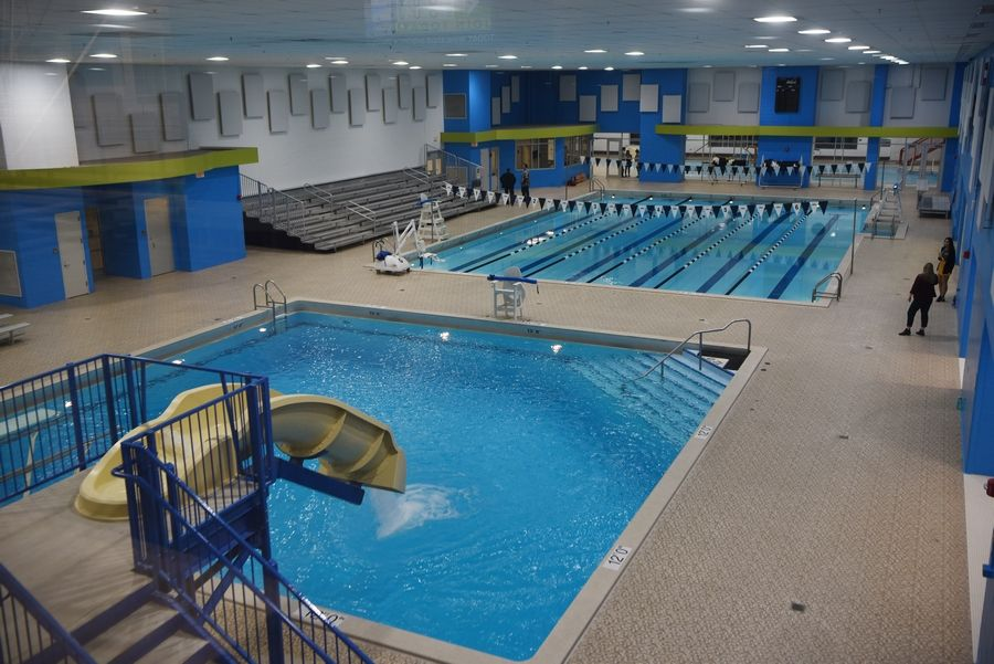 The Arlington Heights Park District's Arlington Ridge Center includes four pools -- the old lap pool, activity pool and dive well, and a new warm water pool.