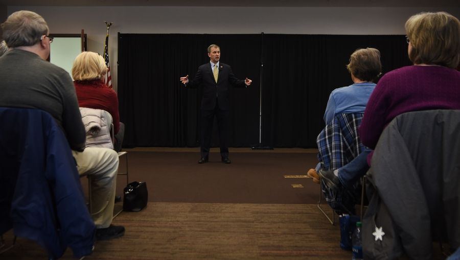 U.S. Rep. Sean Casten, a Downers Grove Democrat, addressed constituents at the Palatine Library Saturday just days after joining with Democrats to impeach President Donald Trump.