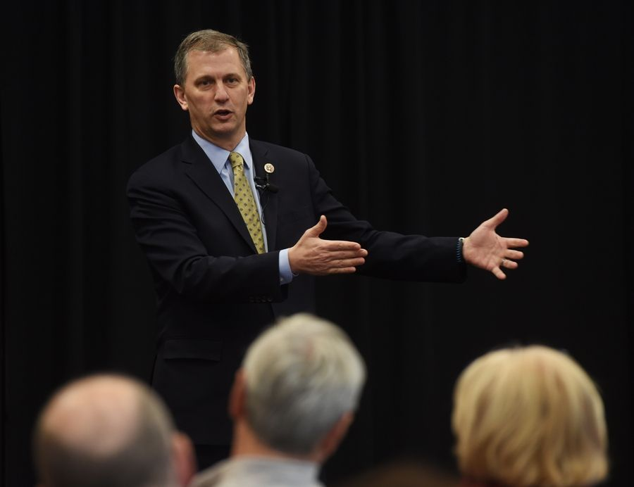 U.S. Rep. Sean Casten, a Downers Grove Democrat, held his 22nd and final town hall meeting of his first year in Congress at the Palatine Library Saturday.
