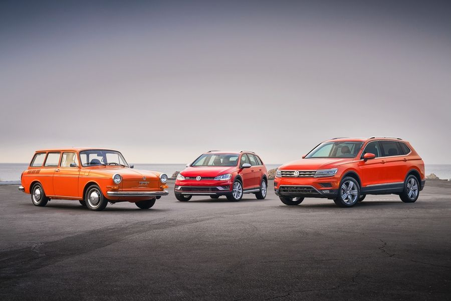 1973 Type 3 Squareback, 2019 Golf Alltrack and 2019 Tiguan