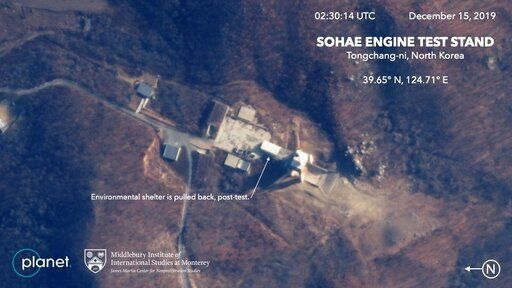 This Dec. 15, 2019, satellite image from Planet Lab Inc., that has been analyzed by experts at the Middlebury Institute of International Studies, shows the Sohae Engine Test Stand in Tongchang-ri, North Korea. This new satellite image on a North Korean missile-related site shows the construction of a new structure this month. (Planet Labs Inc, Middlebury Institute of International Studies via AP)