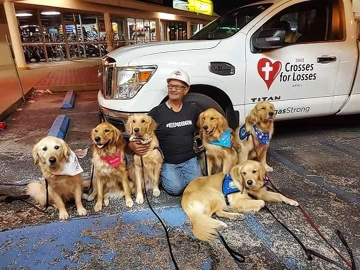 Greg Zanis meets with LCC K-9 Comfort Dogs teams during a September deployment to Texas in the wake of shootings in the cities of Odessa and Midland. LCC is taking over Zanis' Crosses for Losses ministry.