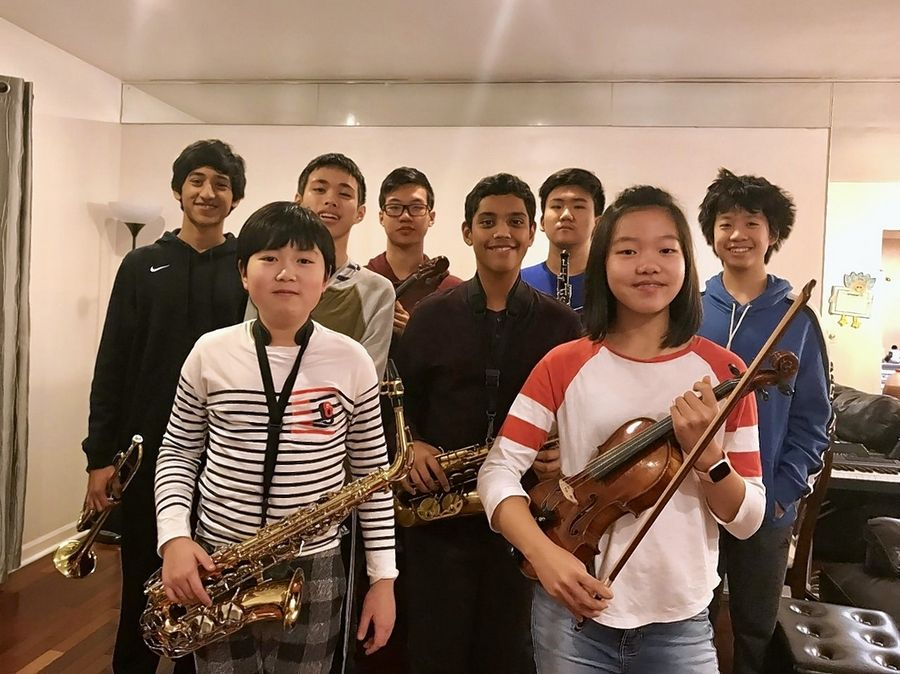 A group of Stevenson High School students have formed a group they call Music for Charity, playing at area fundraisers and nursing homes. They include, front, from left, Wooba Song (saxophone), Catherine Ji (violin); back, from left, Shaurya Khati (trumpet/piano), Eric Liu (viola), Bill Zhu (violin/piano), Aayush Kashyap (saxophone/piano), Enoch Jung (oboe) and Collin Fan (piano).