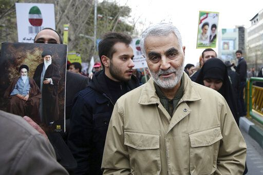 FILE - In this Thursday, Feb. 11, 2016, file photo, Qassem Soleimani, commander of Iran's Quds Force, attends an annual rally commemorating the anniversary of the 1979 Islamic revolution, in Tehran, Iran. Iraqi TV and three Iraqi officials said Friday, Jan. 3, 2020, that Gen. Qassem Soleimani, the head of Iran's elite Quds Force, has been killed in an airstrike at Baghdad's international airport.