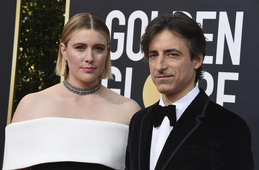 Greta Gerwig, left, and Noah Baumbach arrive at the 77th annual Golden Globe Awards at the Beverly Hilton Hotel on Sunday, Jan. 5, 2020, in Beverly Hills, Calif.