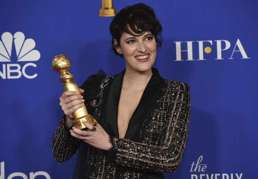 "Phoebe Waller-Bridge poses in the press room with the award for best performance by an actress in a television series, musical or comedy, for ""Fleabag"" at the 77th annual Golden Globe Awards at the Beverly Hilton Hotel on Sunday, Jan. 5, 2020, in Beverly Hills, Calif."
