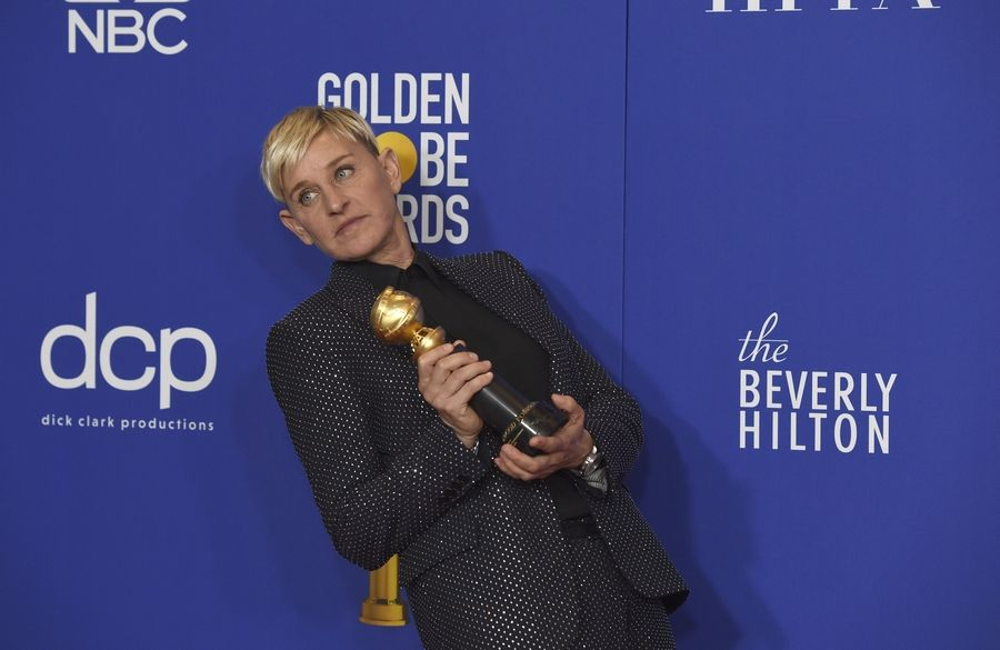 Ellen DeGeneres, winner of the Carol Burnett award, poses in the press room at the 77th annual Golden Globe Awards at the Beverly Hilton Hotel on Sunday, Jan. 5, 2020, in Beverly Hills, Calif.
