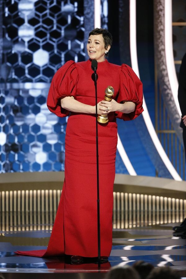 "This image released by NBC shows Olivia Colman accepting the award for best actress in a drama series for ""The Crown"" at the 77th Annual Golden Globe Awards at the Beverly Hilton Hotel in Beverly Hills, Calif., on Sunday, Jan. 5, 2020."