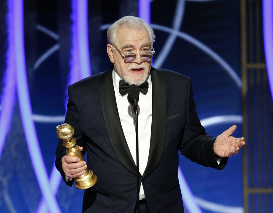 "This image released by NBC shows Brian Cox accepting the award for best actor in a drama series for ""Succession"" at the 77th Annual Golden Globe Awards at the Beverly Hilton Hotel in Beverly Hills, Calif., on Sunday, Jan. 5, 2020."