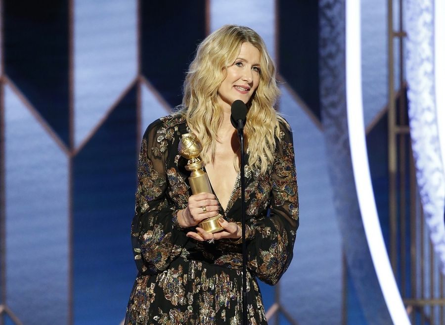 "This image released by NBC shows Laura Dern accepting the award for best supporting actress in a motion picture for ""Marriage Story"" at the 77th Annual Golden Globe Awards at the Beverly Hilton Hotel in Beverly Hills, Calif., on Sunday, Jan. 5, 2020."