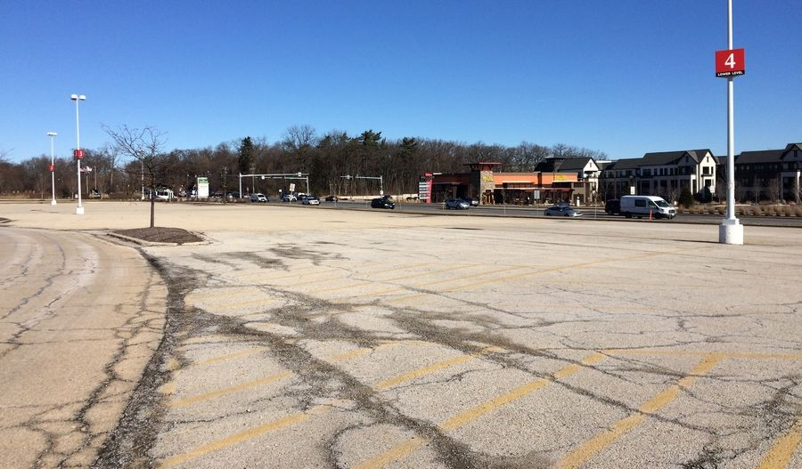 Centennial Real Estate, owner of Hawthorn Mall in Vernon Hills, wants to convert this parking lot fronting Milwaukee Avenue south of Ring Road for three businesses, likely restaurants.
