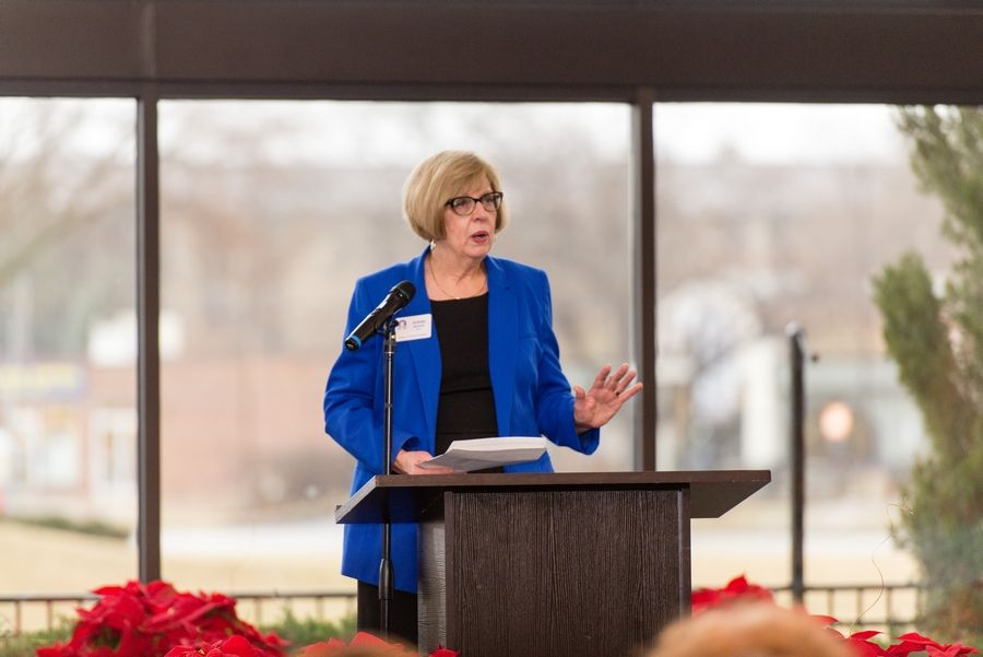 "Mayor Arlene Juracek delivers the ""State of Mount Prospect"" address at the Mount Prospect Chamber of Commerce Dynamic Year Luncheon Jan. 9."